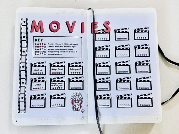 Movie Review Tracker Bullet Journal Planner Printable Instant