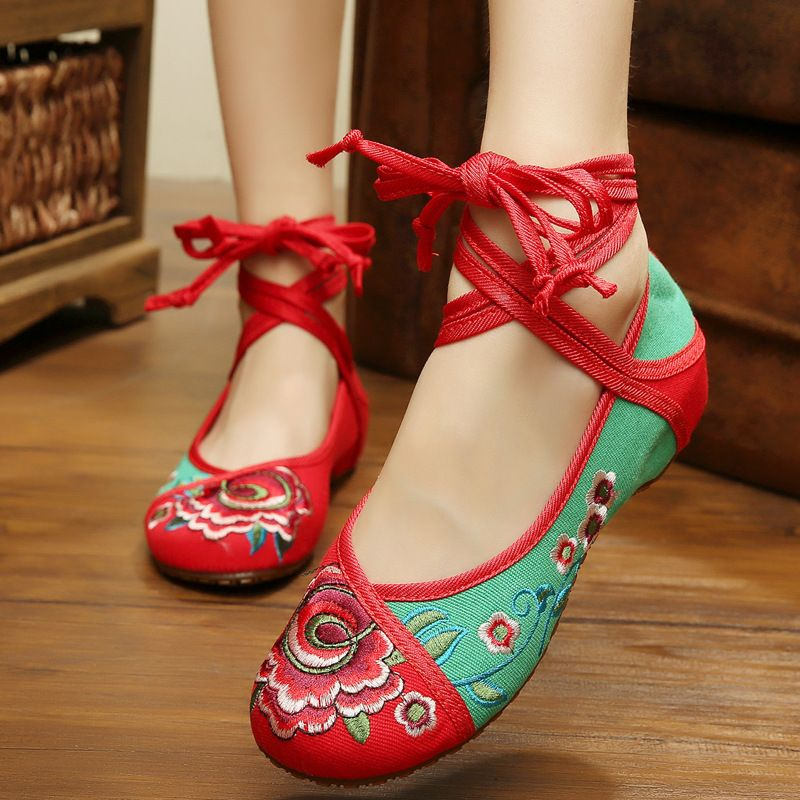 Shoes For Women Old Peking Ankle Strap Flat Heel Canvas Flats Casual Shoes For Women