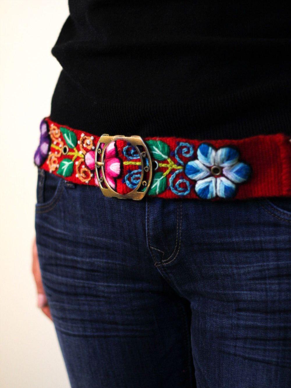 Embroidered belt floral natural organic dyes ethnic belt boho Peruvian belt