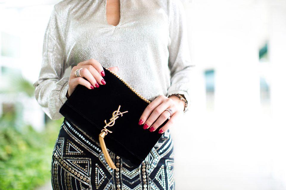 Brand Sparkling New: Metallic Choker Blouse + Embellished Skirt #softcurls
