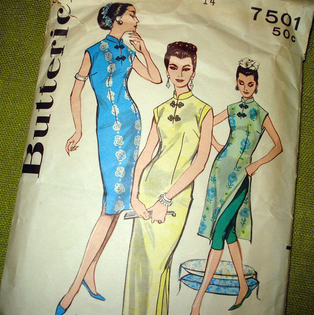 1960s Vintage Sewing Pattern - Pake Muu - Mandarin Collar Hawaiian ...