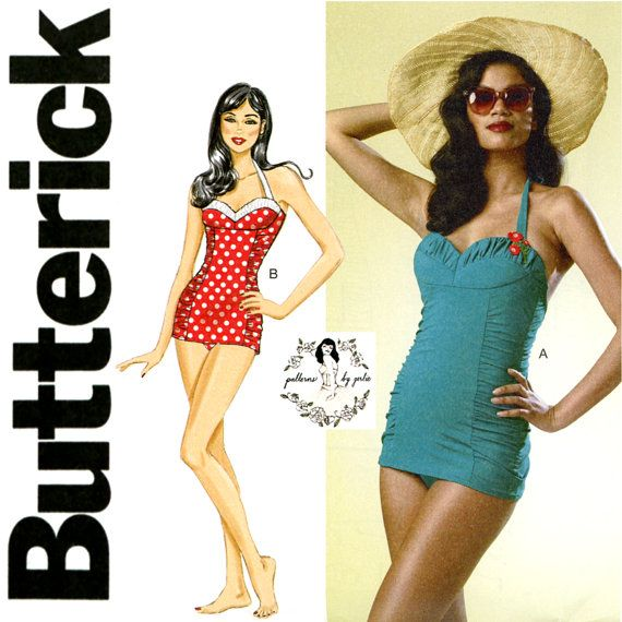 Vintage 50s Retro Butterick Sewing Pattern Misses Swimsuit Princess Seam Halter