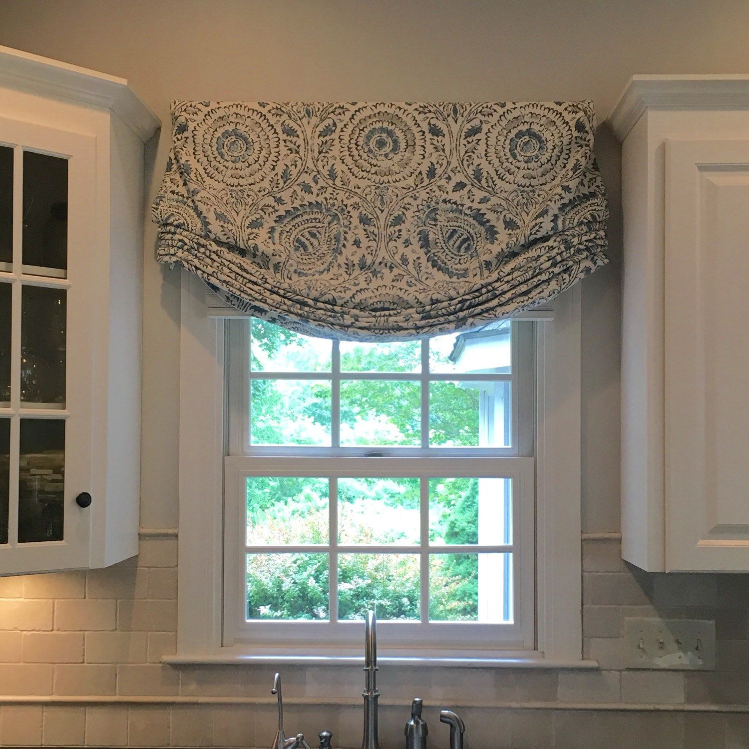Free Shipping Relaxed Roman Shade Stationary Custom Etsy In 2020 Roman Shades Kitchen Kitchen Window Treatments Relaxed Roman Shade