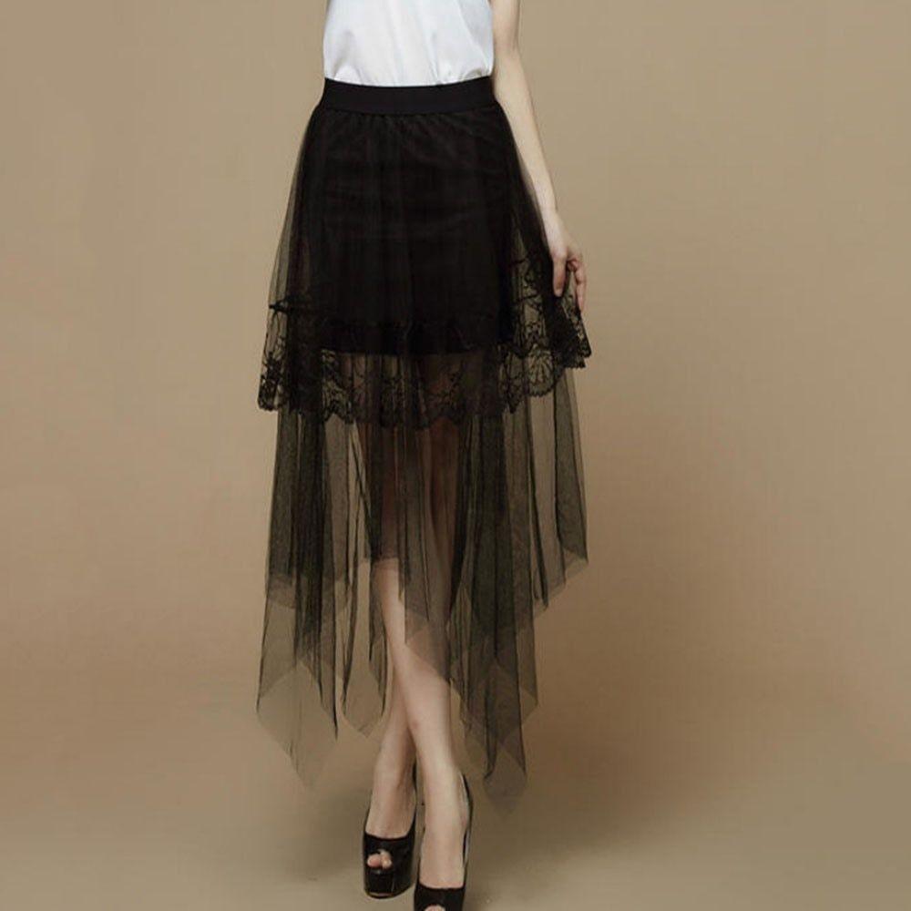 35e6293394 Gothic Mesh Lace Skirt Asymmetrical Women Autumn 2018 Elastic Waist Pleated  Solid High Street Fashion Hot
