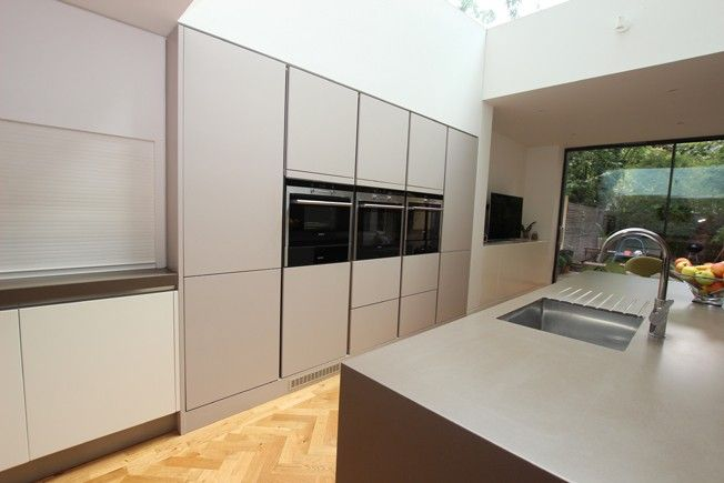 Best Handleless Matt Cashmere Kitchen With Kitchen Island 640 x 480