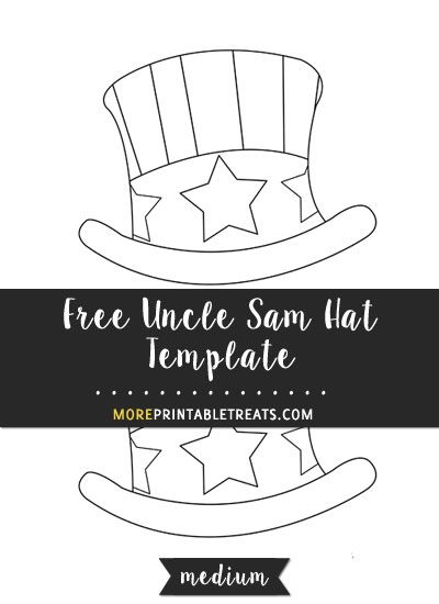 Free Hand Drawn Uncle Sam Hat Template Medium Hat Template