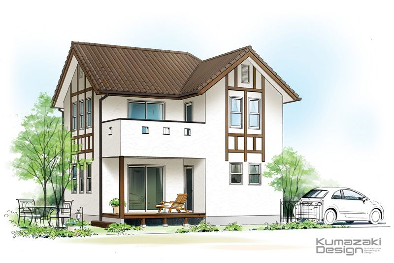 K32 手描き 建築パース 手書き 住宅外観パース 一戸建て 鉛筆画