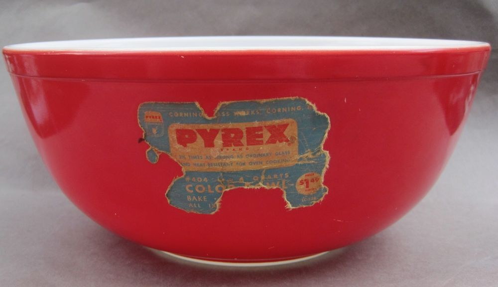 Vintage Red Pyrex 404 Nesting Mixing Bowl With Original Label HTF ...