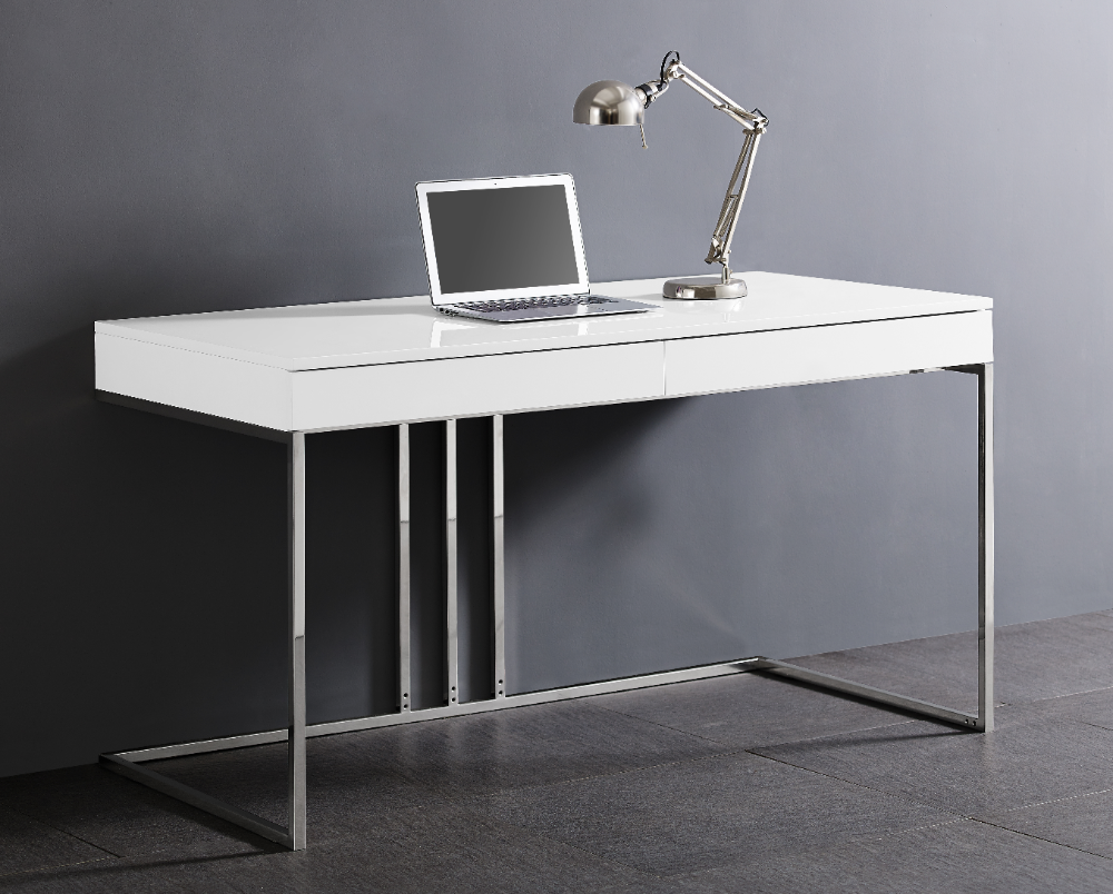 Sabine Desk In High Gloss White Lacquer With Stainless Steel Base By Whiteline Modern Living In 2020 Modern White Desk Contemporary Office Desk Modern Desk