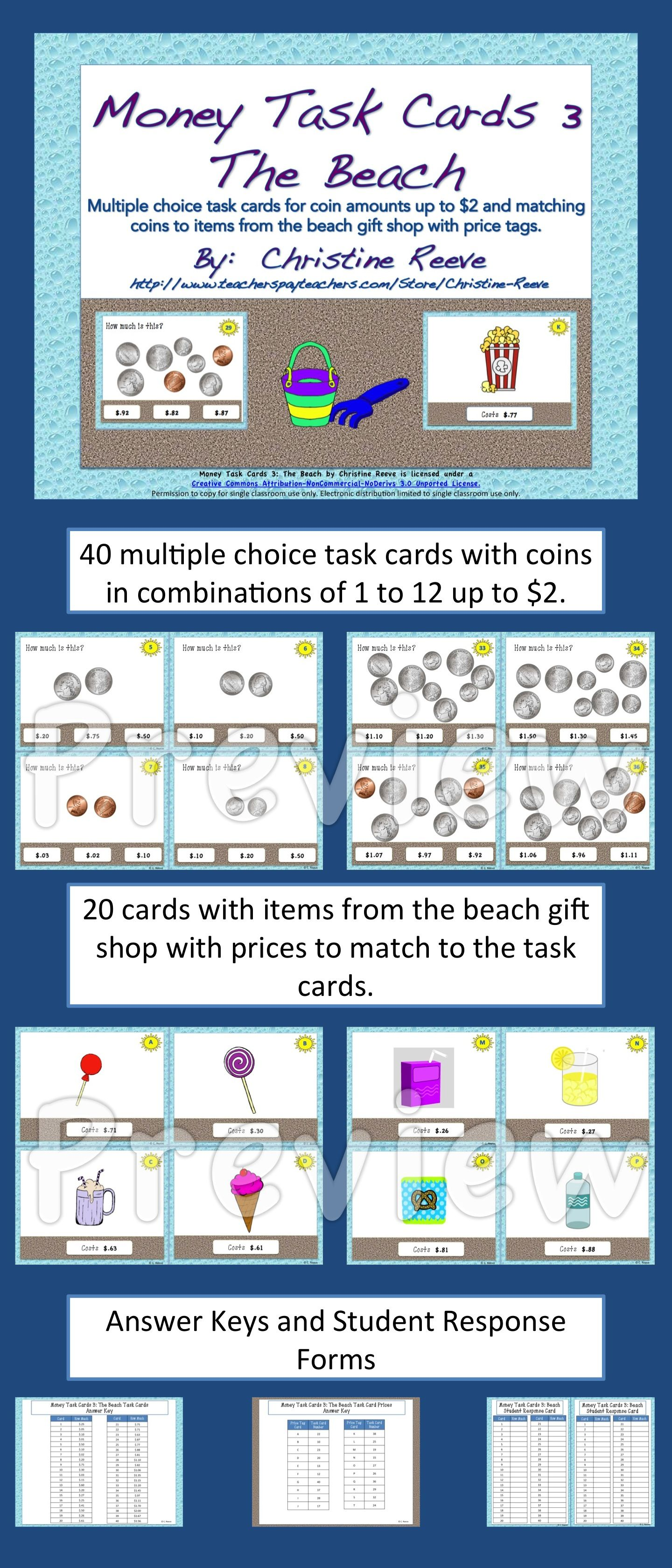 Money Task Cards 3--The Beach (Special Education-Coins to $2) | Life ...