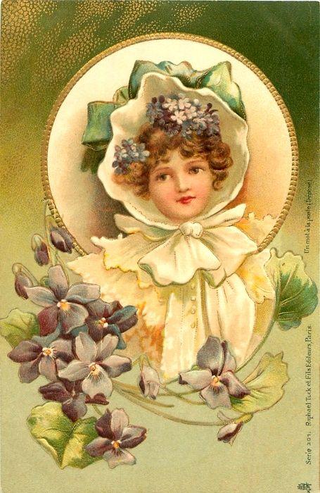 Victorian spring girl postcard