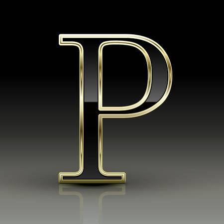 3d metallic black letter P isolated on black background ...