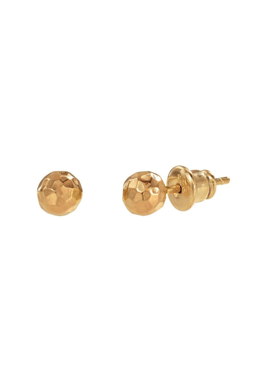 Hand hammered gold plated studs.  As seen in InStyle! $34.00 #jewelry    Approximately 5mm ball.  Post closure.