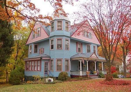 Blue And Pink Victorian House.....