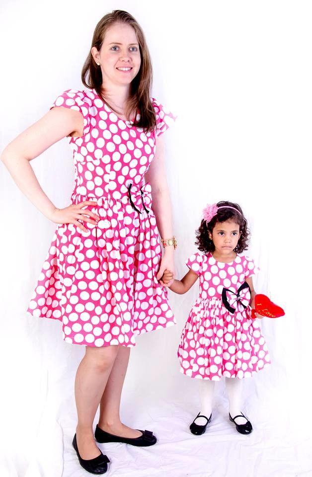5eab1c25130bfd vestido mãe e filha,tema minie rosa 100% algodão,vários modelos e ...