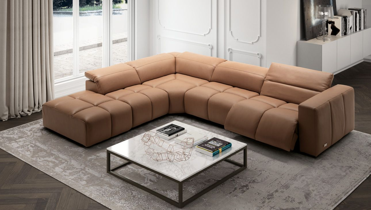 Estro Milan Madison Sectional Italian Leather Sofa Italian Furniture Modern Italian Leather Furniture