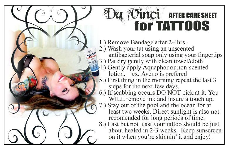 Tattoo Aftercare Instruction Sheet Tattoo Aftercare Purge