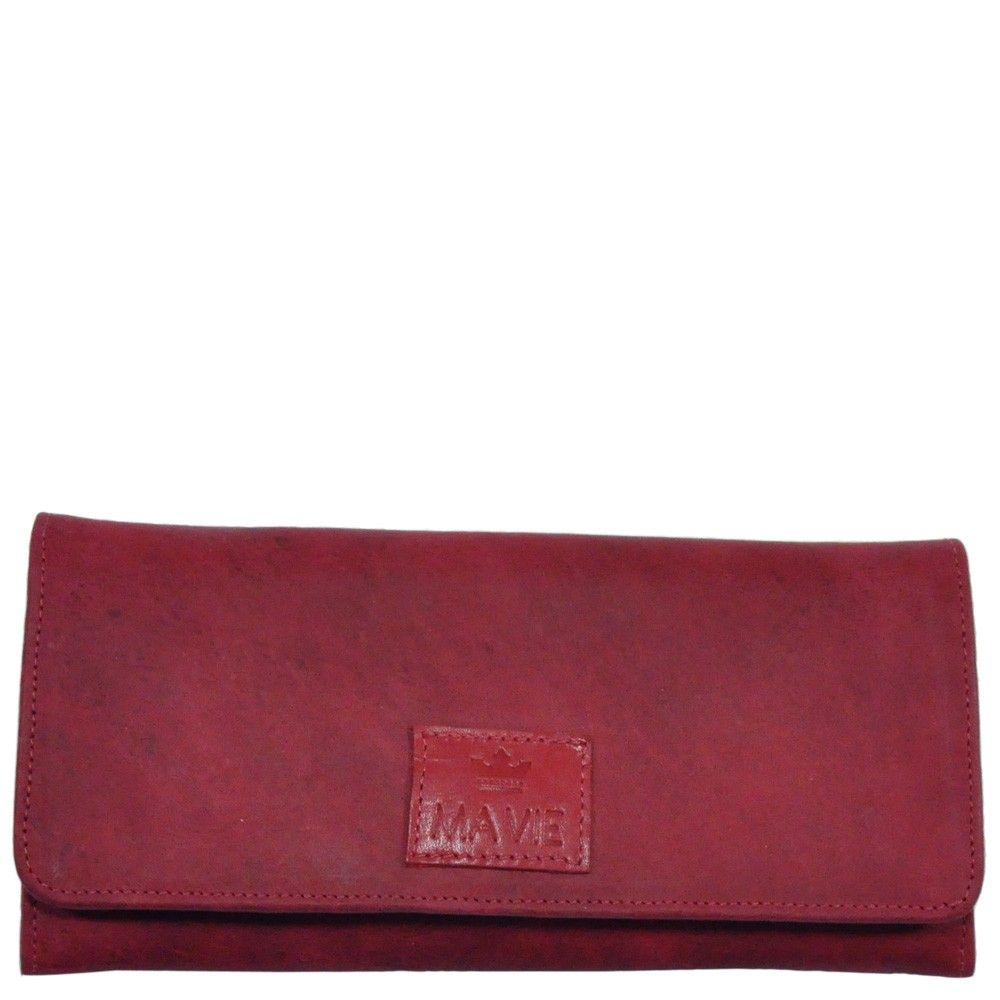Maxi Carteira em couro craquelê na cor vermelha.