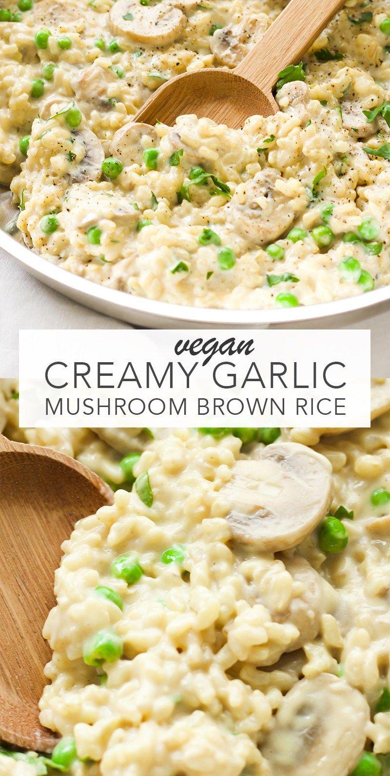 Creamy Vegan Garlic Mushroom Brown Rice
