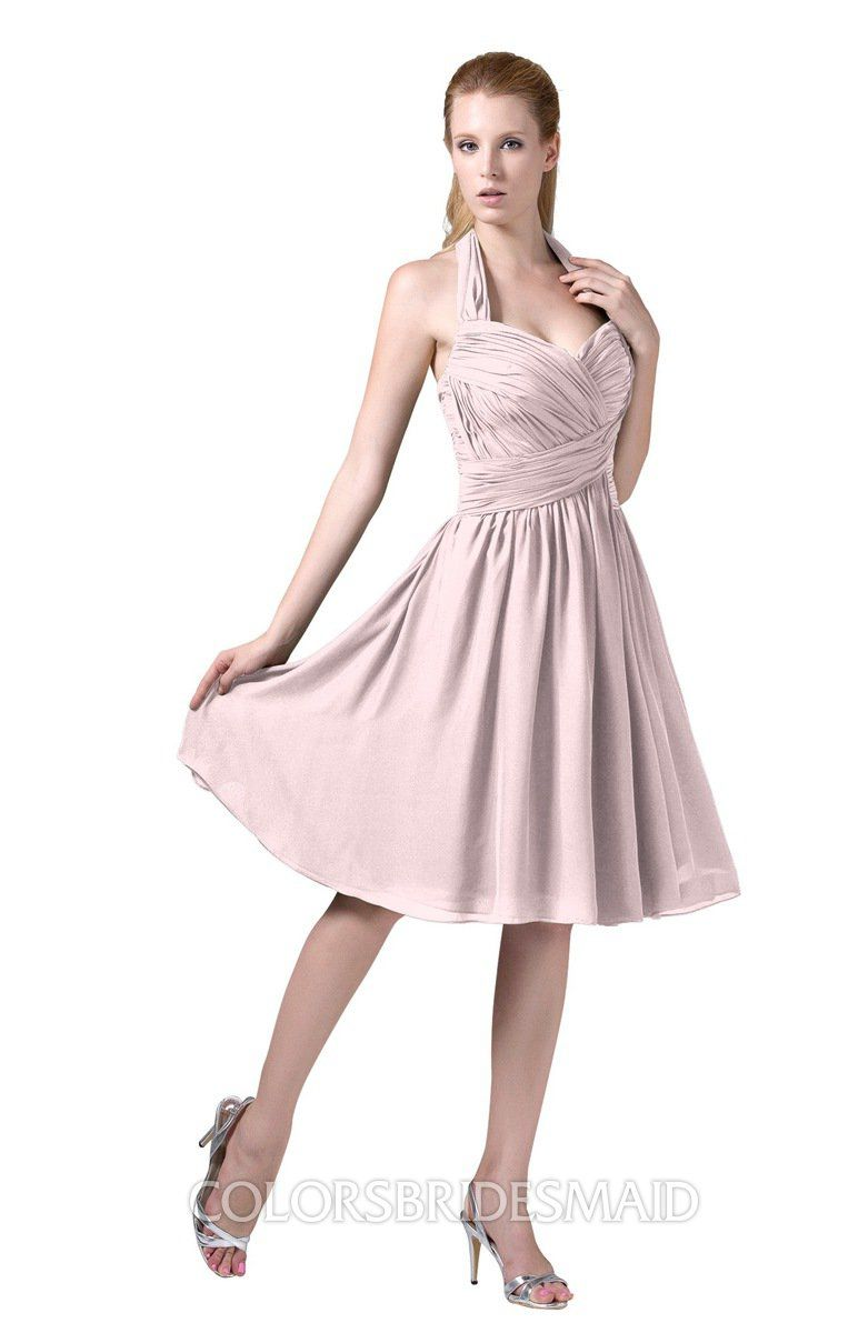 b03ecebd091d Petal Pink Affordable Modest Sleeveless Zip up Chiffon Knee Length Ruching  Party Dresses can be accessed at colorsbridesmaid.com.