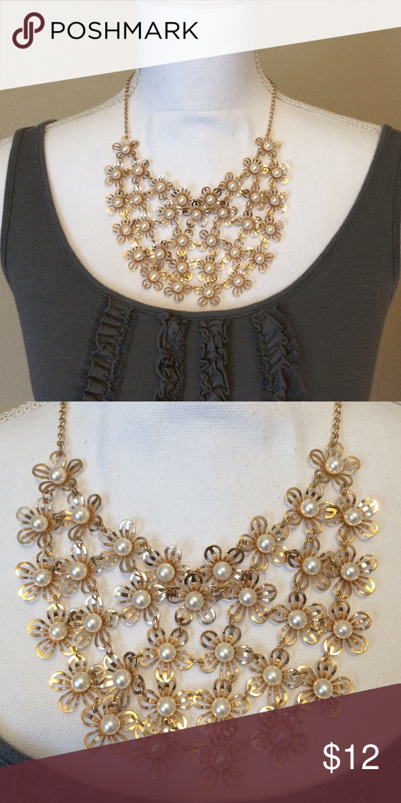 "Gold Daisy Statement Necklace. Never worn gold necklace with faux pearl beads. Chain adjustable up to 20.5"". Jewelry Necklaces"