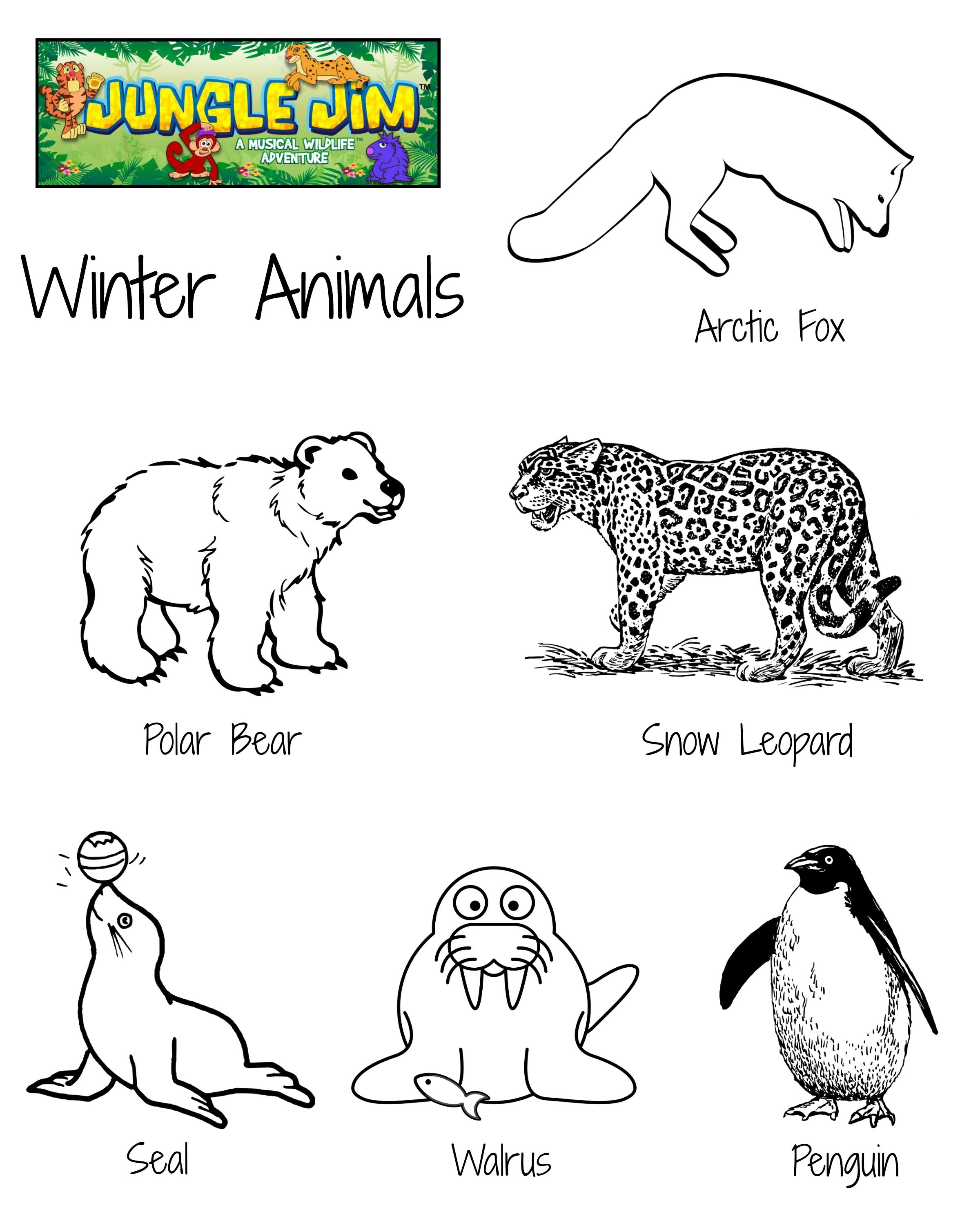 Winter Animal Free Printable Coloring Page with lots of