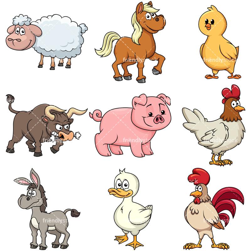 Farm Animals 2 Vector Cartoon Clipart Friendlystock Farm Cartoon Cartoon Clip Art Cartoon Animals