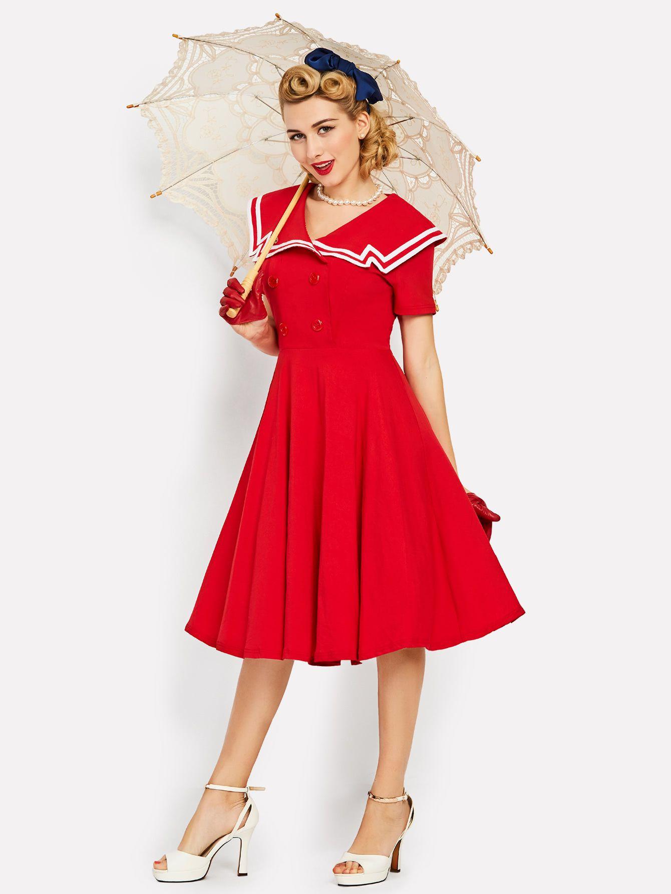 Contrast Trim Sailor Nautical Circle Dress Cute Red Dresses Vintage Red Dress Ladies Day Dresses [ 1785 x 1340 Pixel ]