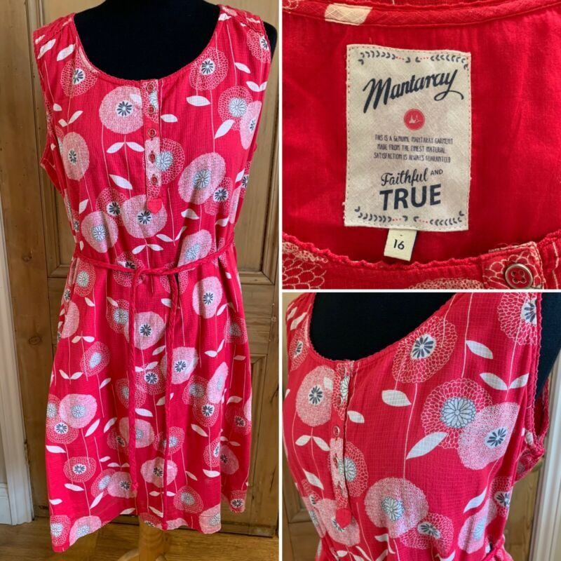 Mantaray Sleeveless Summer Dress Size Uk 16 Red Floral Tie Belt Above Knee Dresses Ebay Link In 2020 Sleeveless Dress Summer Floral Cotton Dress Summer Dresses