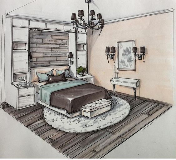 Bedroom Perspective: Pin On INTERIOR PERSPECTIVE DRAWINGS