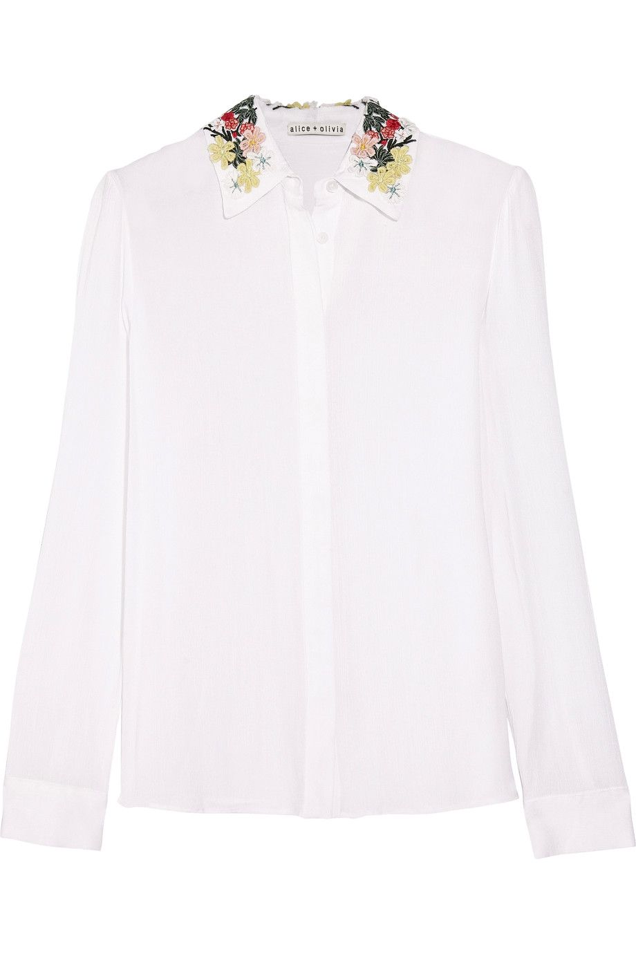 Shop on-sale Alice + Olivia Saira embroidered voile shirt. Browse other  discount designer