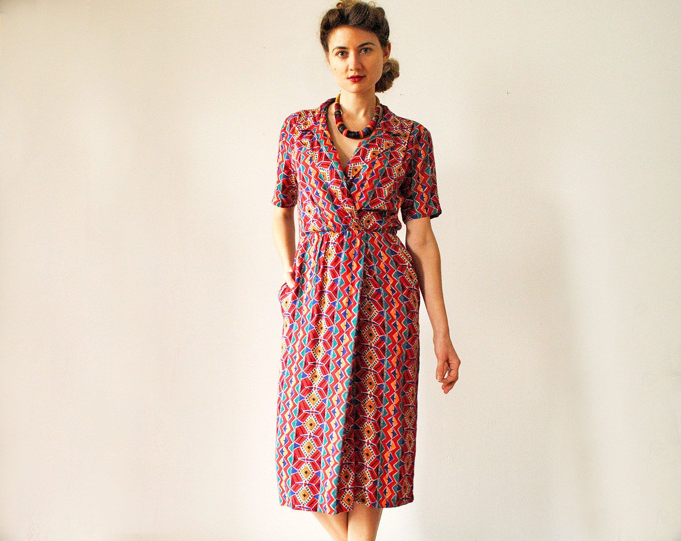 Vintage short sleeve dress red patterned extra small via