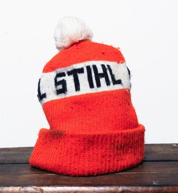 Vintage 90 s Stihl Chainsaws Lumberjack Logger Beanie Knit Ski ... 2184131f049