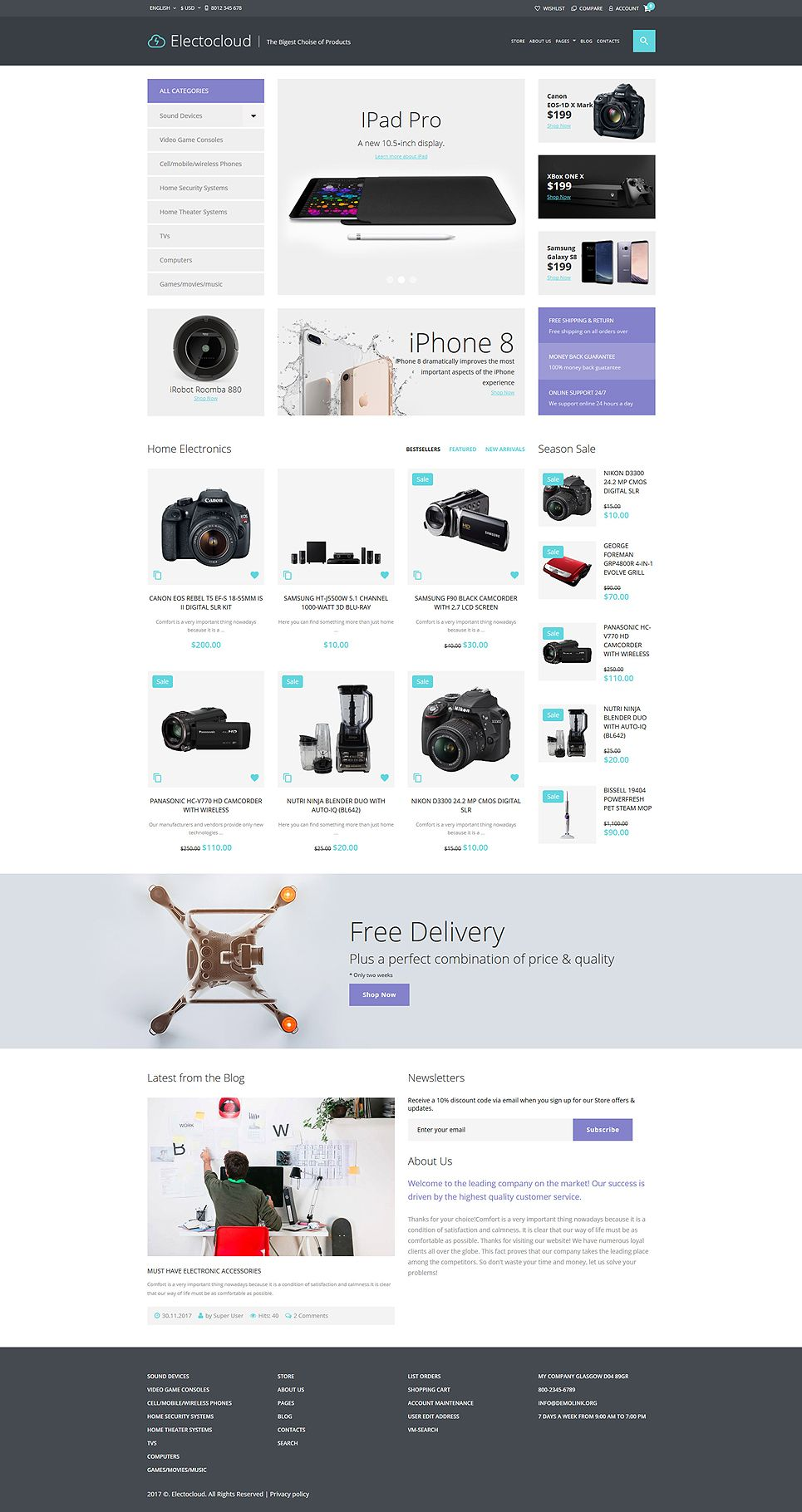 Electrocloud Mobile Store Joomla Template Pinterest Template