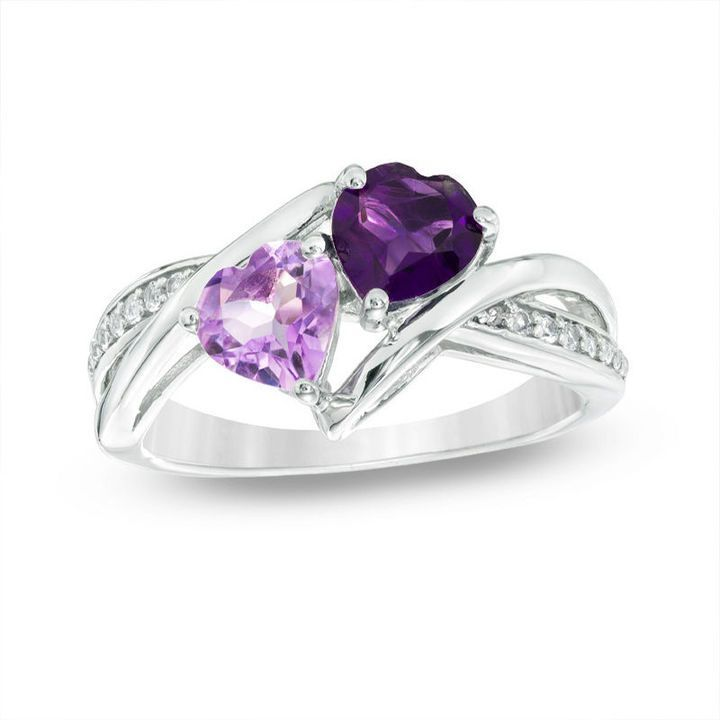 Zales 6.0mm Heart-Shaped Amethyst and Diamond Accent Ring in Sterling Silver h2BKGjMD