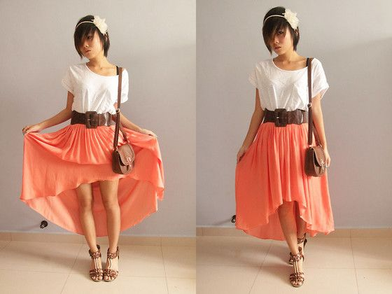 Simple hi-low skirt with white shirt. Spice it up with a fun belt!