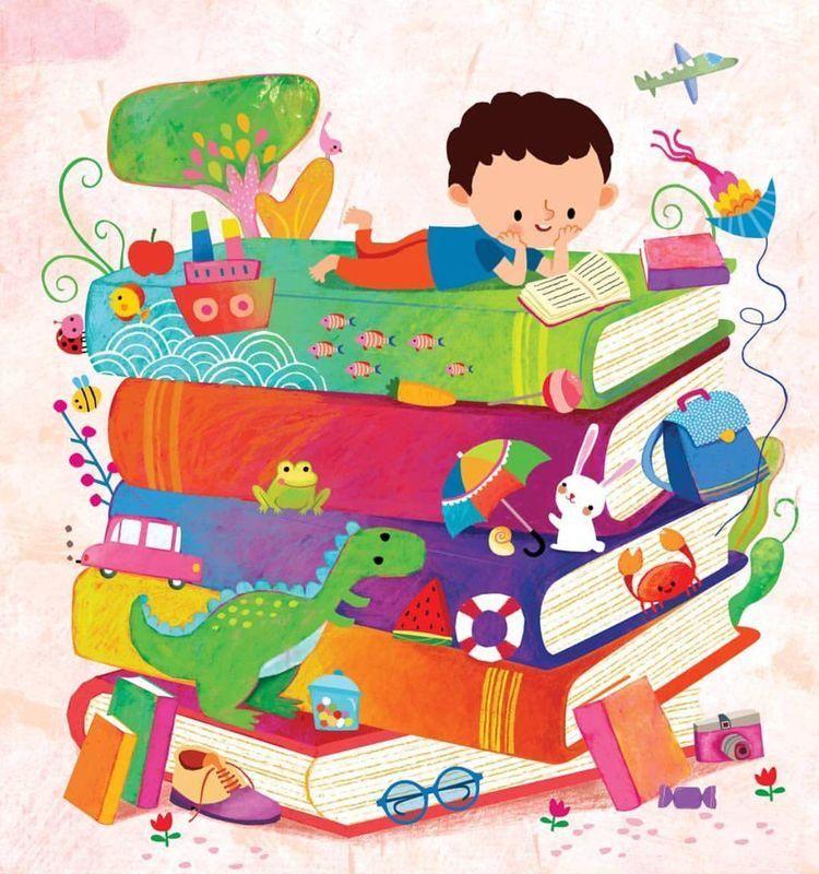 Decoracion De Biblioteca Escolar Murales Escolares Dibujos Ninos Leyendo