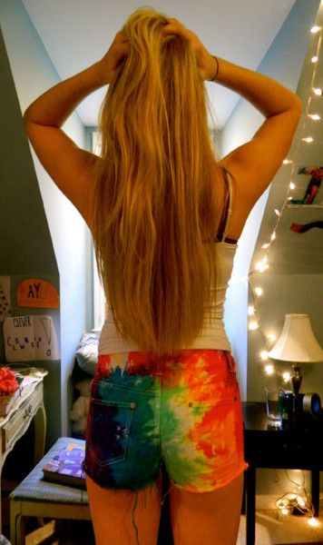 Tie-dyed cut off shorts.
