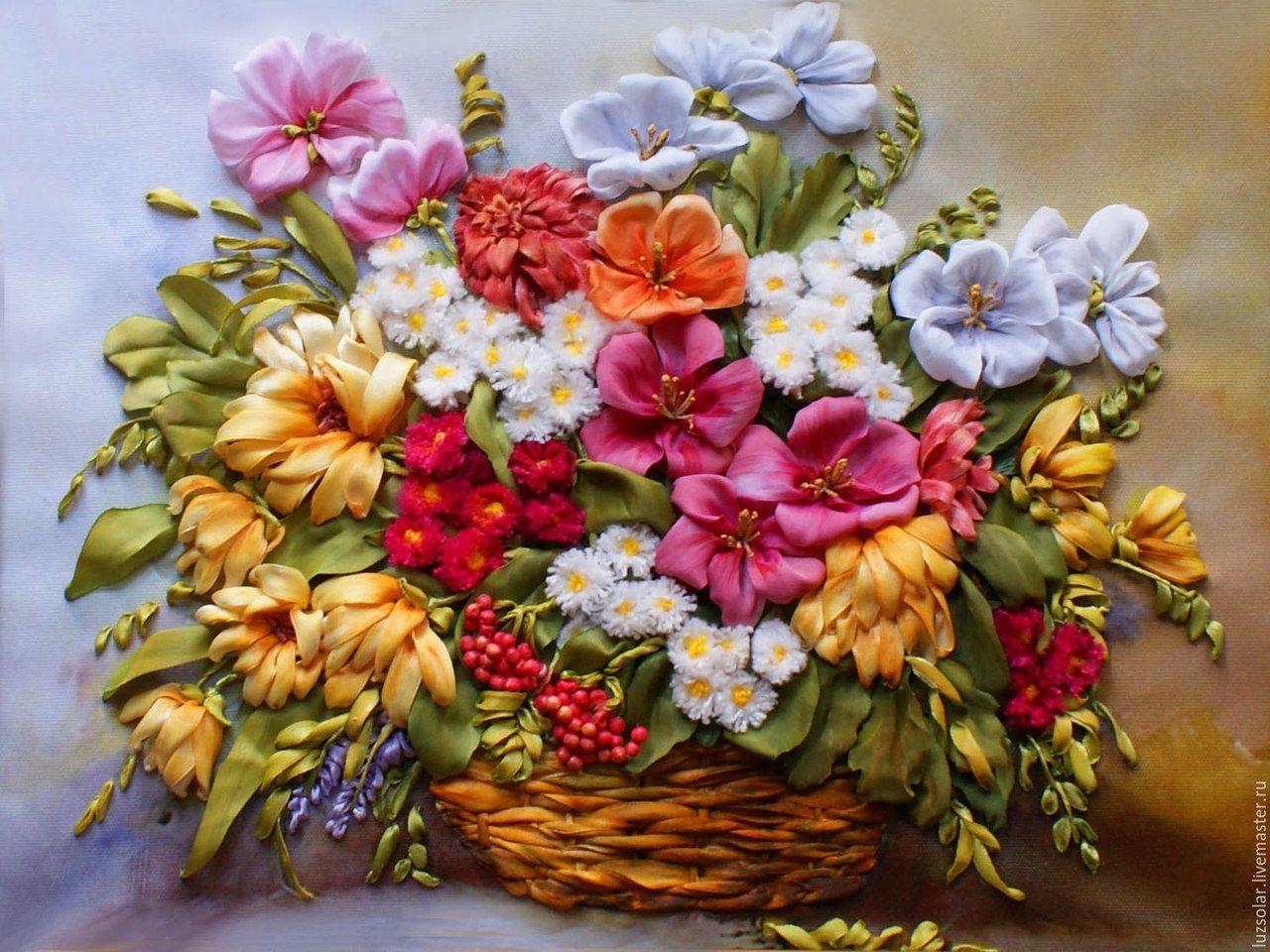 Картинки для вышивания лентами цветы розы