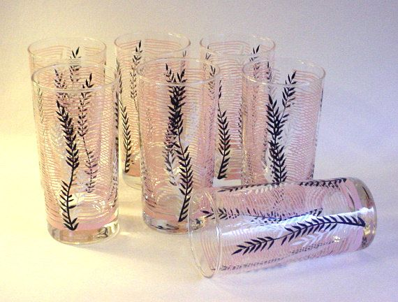 7 Vintage 1950's Libbey Glass Tumblers, Drinking Glasses- Gorgeous Black, Pink & White Pattern on Etsy, $28.00