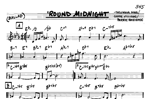 Download Real Book - Melody/Chords sheet music to \'Round Midnight by ...