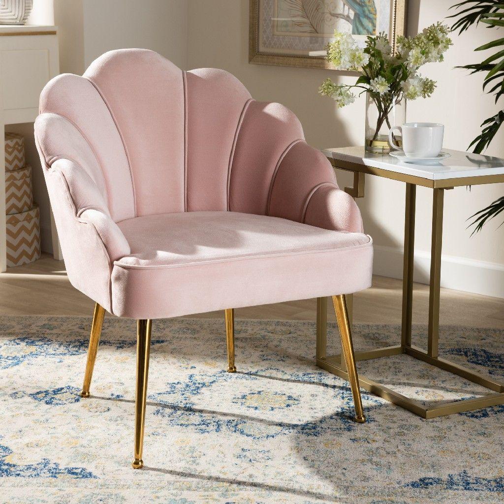 Baxton studio cinzia glam and luxe light pink velvet