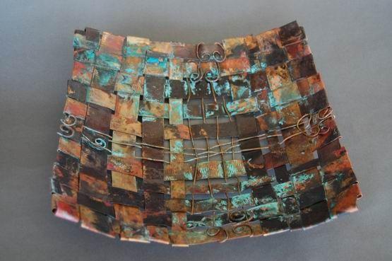 patina copper basket