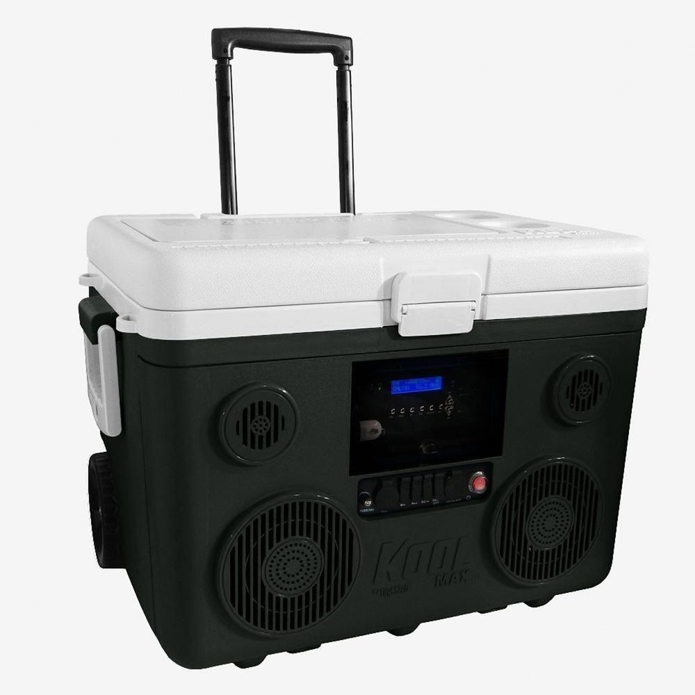 Tunes2go Koolmax 40 Qt Gray Wheeled Cooler Bluetooth Pa System And Power Station Power Station Pa System Yeti Cooler