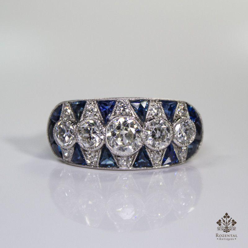 Antique Art Deco Platinum 1.9ctw. Diamond & Sapphire Ring
