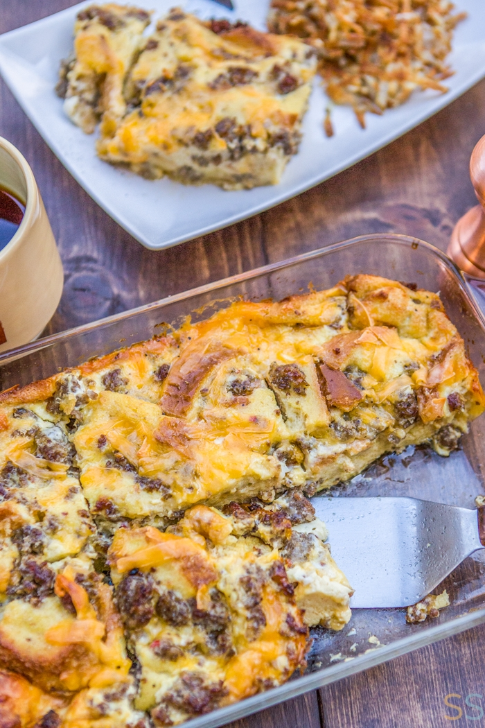 This sausage, egg and cheese casserole is cheesy, bubbly and fluffy all at the same time.