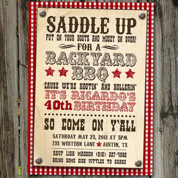 Western Themed Birthday Invitation Theme