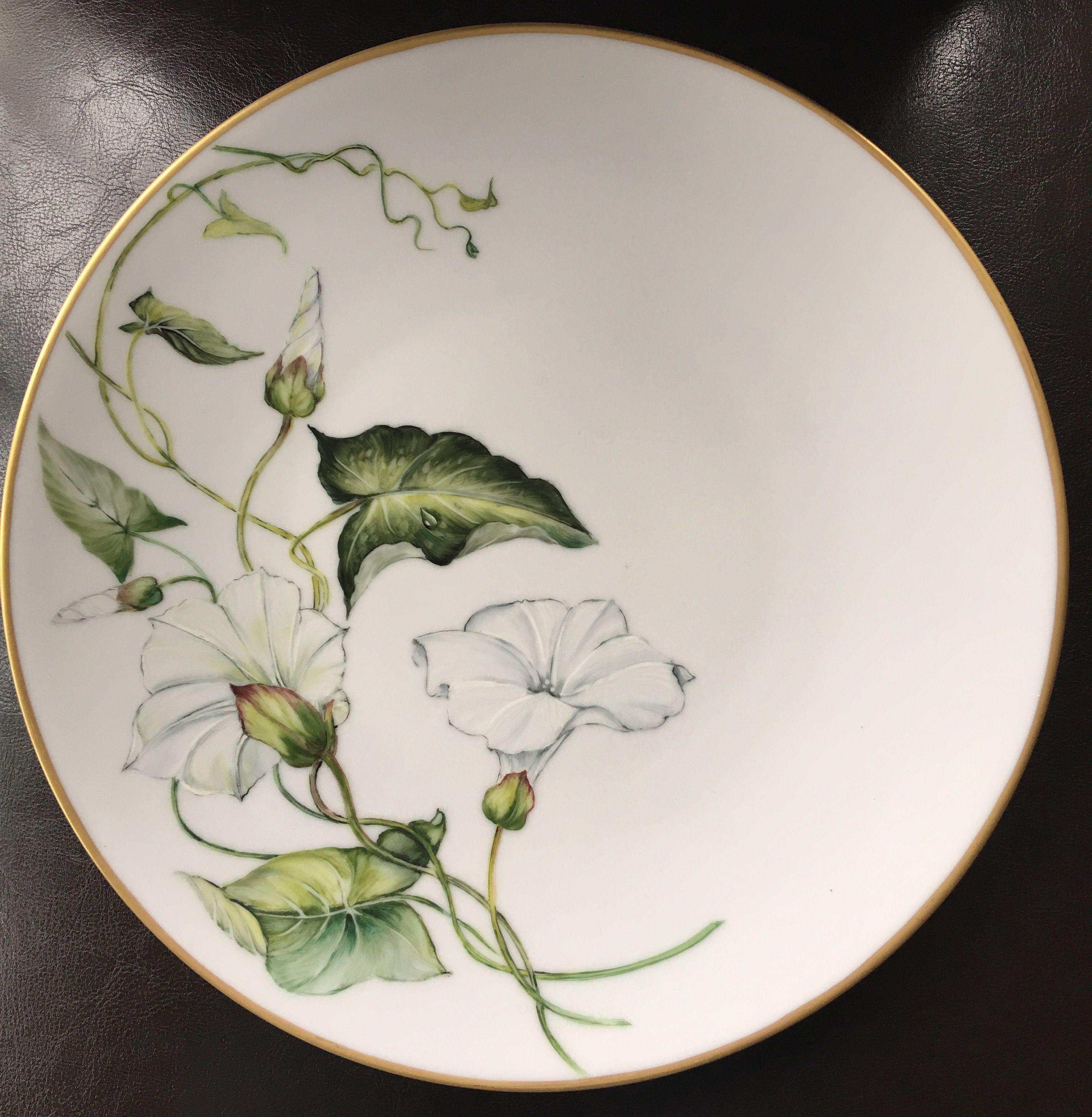 Peinture Sur Porcelaine Assiette assiettes fleurs blanches | porcelaine peinte, peinture sur