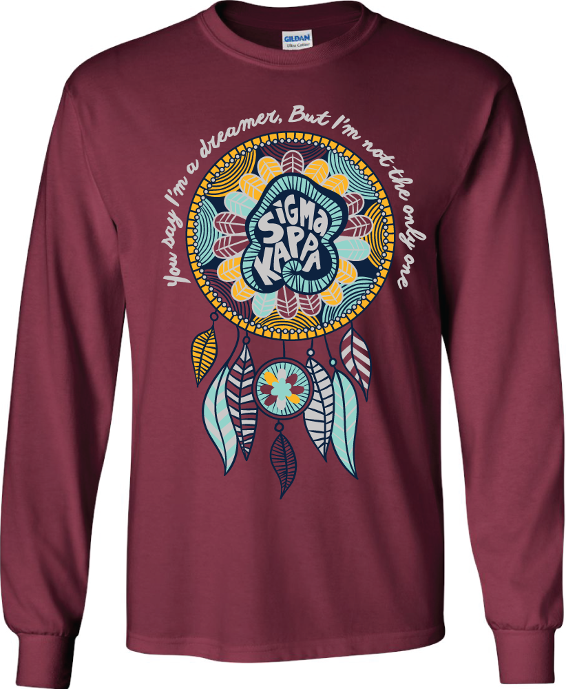 gokotis.com | You say I'm a dreamer! #SigmaKappa #SK #Sigma #Sisterhood #Dreamcatcher #Hippie #SororityShirts #College (116909)