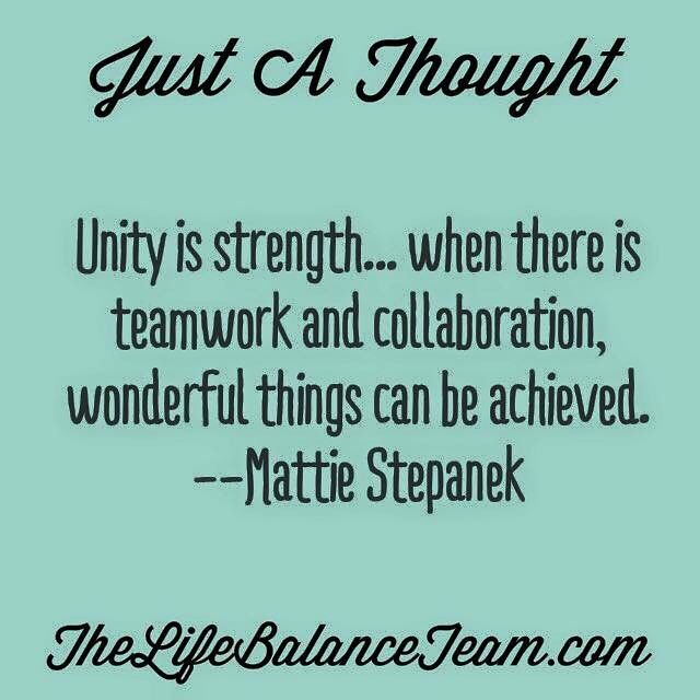 Just a thought  Unity is strength   when there is teamwork